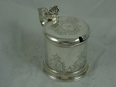 PRETTY solid silver  MUSTARD POT, 1913