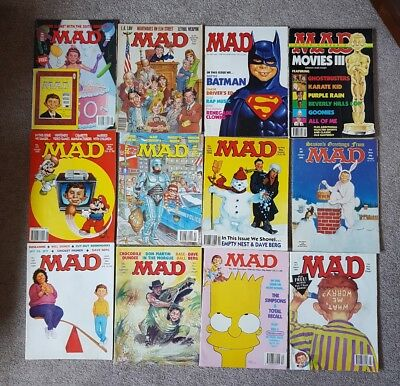 12 X Collectible Vintage MAD Magazine Various editions 1987-1991 - Rare