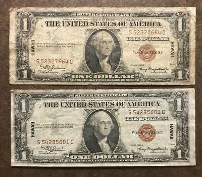 Two 1935 Hawaii Silver Certificate $1 Dollar Notes - WWII Emergency - No Reserve