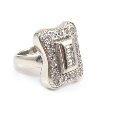 Vintage Estate 14K White Gold Art Deco Natural Diamond Cluster Ring Size 5