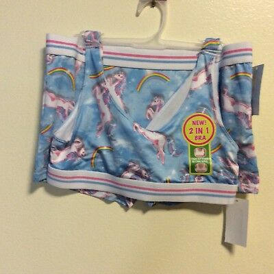 Girls Bioworld Light Blue Unicorn Boy Short/matching Bra Size 14