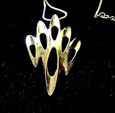 Stunning vintage necklace crown Trifari, abstract design on snake chain, long
