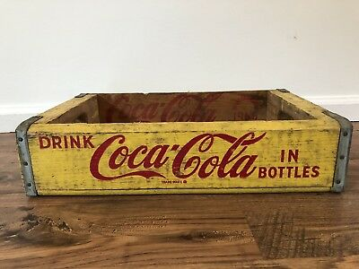 Vintage Coca-Cola Yellow Wood Crate Carrier Caddie Chattanooga 1966