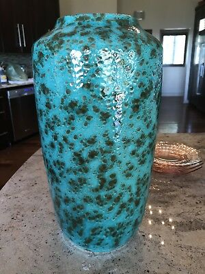 Astonishing Mid Century West German Art Pottery Floor Vase with Volcanic Glaze