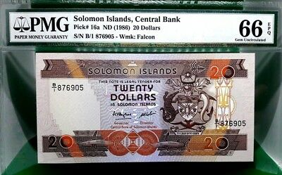 MONEY SOLOMON ISLANDS $2 DOLLARS ND 1986  PMG GEM UNC PICK #16a VALUE $160
