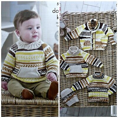 03249b6f6 KNITTING PATTERN BABY Jumpers Jacket Hat Cherish DK King Cole 5220 ...