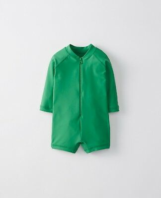 NWT Hanna Andersson Green Swimmie Rash Guard Suit, Size 75 12-18 Months Boy Girl