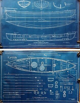 Antique 1934 Blueprints ship Model WHALE-BOAT OF NEW BEDFORD, Charles D. Beetle