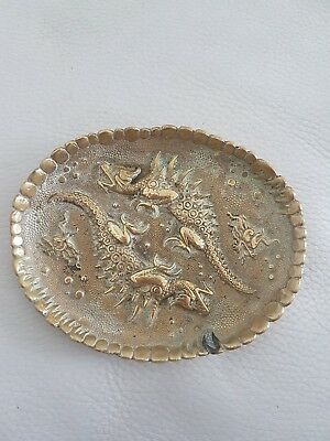 Antique Chinese Brass Tray Dish Decorated With Dragons