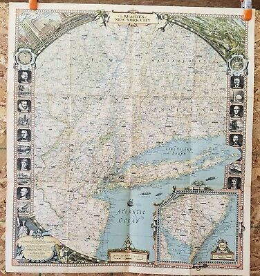 "1939 National Geographic REACHES OF NEW YORK CITY Map, 29"" x 26 3/4"" VG Cond."