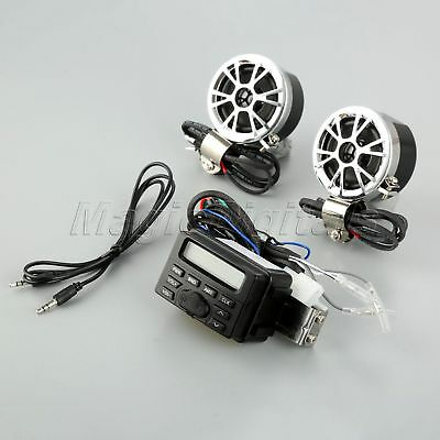 12V Motorcycle FM MP3 MP4 Audio Radio System 2 Speakers For Harley Electra Glide