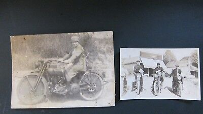 Lot of Two Antique Motorcycle Original Photos Indian,Harley Davidson,Photographs