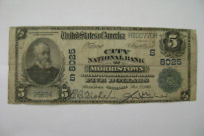 Morristown, TN Tennessee $5 National Banknote Currency - 1902 Series - Large