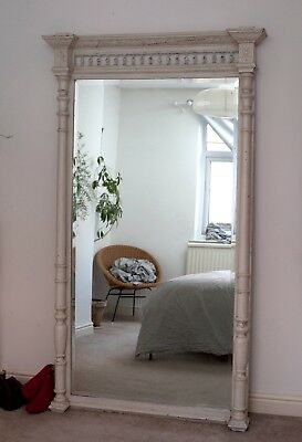 Big Antique Vintage French Mirror Over Mantel Industrial ... Delivery Available