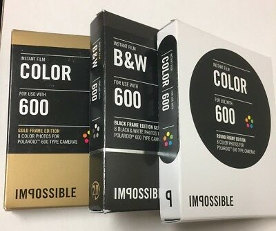 Lot-3 Impossible Film for Polaroid 600 Type Cameras, 2 Color, 1 B&W. See Details