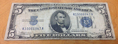 1934-A $5 Blue Seal Silver Certificate - Bidding Starts At .99 Cent & No Reserve