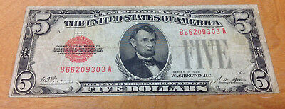 1928 $5 Red Seal United States Note - Bidding Starts At .99 Cents