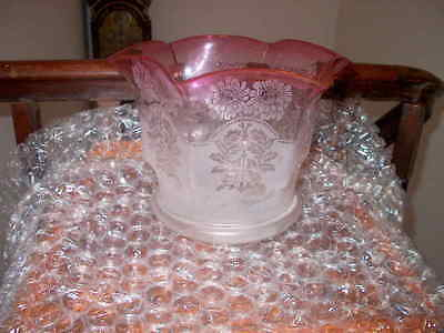ORIGINAL OIL LAMP SHADE CRANBERRY ETCHED TULIP 4inch fitter No Damage Excellent