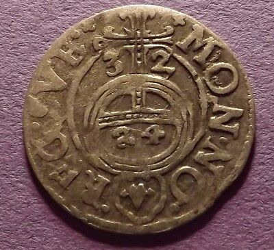 1632 Poland 1/24th Thaler Silver Coin - Rare Elbing Royal Issue - Two Year Type