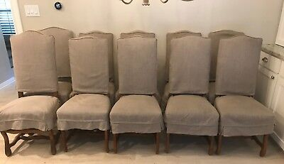 Slipcovered French Mutton Leg Louis XIII Style Dining Chairs