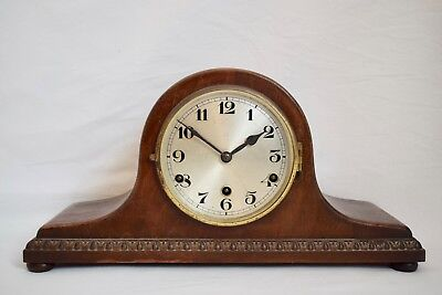 VINTAGE 1930s GERMAN DRPa MAHOGANY WESTMINSTER CHIME NAPOLEON HAT MANTEL CLOCK