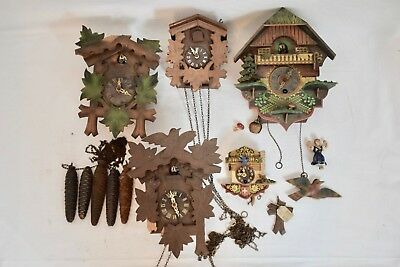 JOB LOT OF VINTAGE 1970s GERMAN WEIGHT DRIVEN CUCKOO CLOCKS FOR SPARES/ REPAIRS