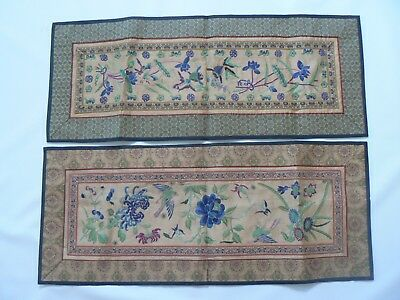 Vintage Chinese Peking Embroidered Silk Table Runners Excotic Birds & Fish