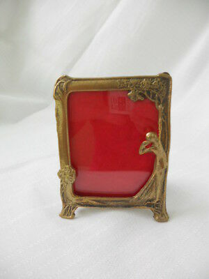 Vtg Ornate Art Deco Nouveau Brass Picture Frame Lady w Flowers  *Made in Italy*