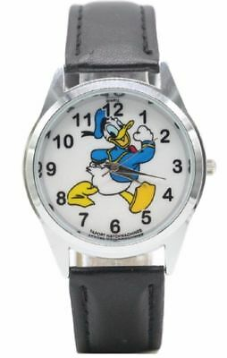 Donald Duck Character Black Genuine Leather Band Wrist Watch