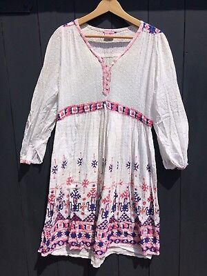 Vintage Indian Cotton Gauze Dress like Phool Small Medium 10 12