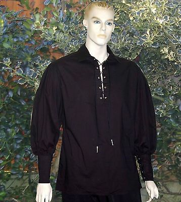 Mens Medieval / Georgian Renaissance poets pirate reenactment shirt black cotton