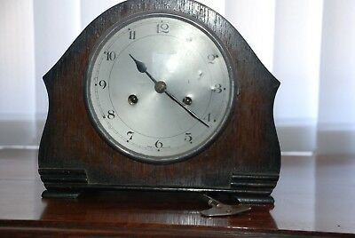 Vintage SMITHS Enfield Oak MANTLE CLOCK with Key  - spares/repairs