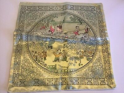 "Chinese Silk Pillow Cover Garden Scene with Asian Figures 16 1/2"" x 16 1/2"" Zipp"