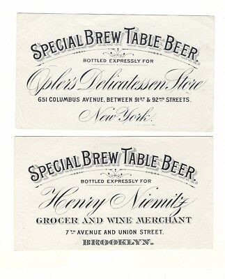 2 dif Special Brew Table Beer labels Pre Prohibition New York NY