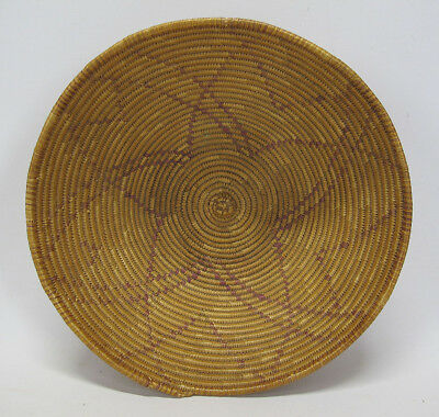 Vintage Native American Indian Papago Southwest Woven Coil Basket Bowl #21 yqz