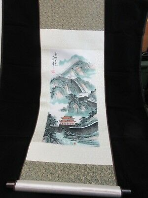 Vintage Great Wall Of China Silk Scroll Wall Hanging Asian Panel Art Signed