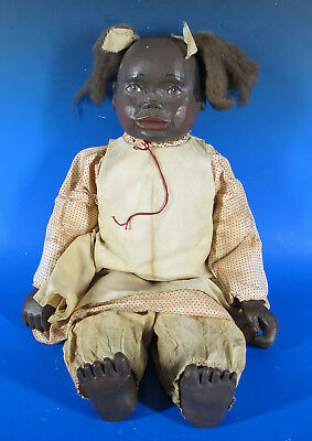 Vintage Maynard Arnett Inspired Black Americana Folk Art Carved Ltd Ed Doll  yqz