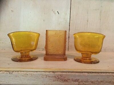 Pair Of Small Amber Original Art Deco Glass Vases Plus One Amber Pressed Glass