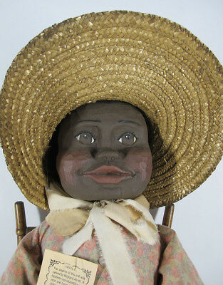 Vintage Maynard Arnett Inspired Black Americana Folk Art Carved LE Doll #4 yqz