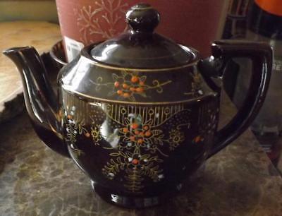 Brown Pottery Teapot Japan Moriage Design