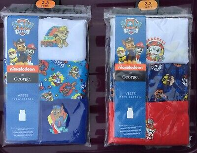 Baby Boys 3 pack Vests with Paw Patrol  Detail, sizes 12-18 or 18-24 months,