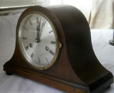 Compact Napoleon Hat chiming mantle clock, in working order, no key or pendulum