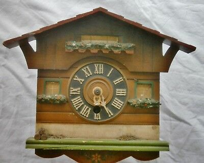 West German Cuckoo Clock Wind-up Antique Wood Mechanical