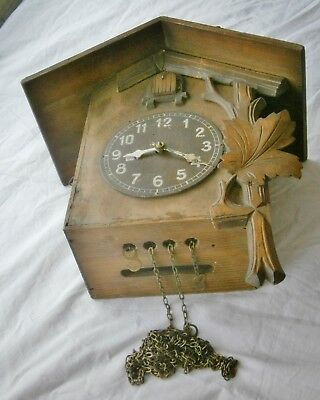 Clockwork Black Forest cuckoo clock movement working spares or repairs, damaged
