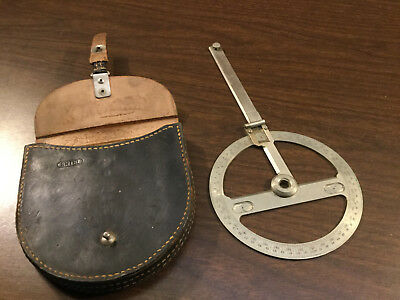 Antique NAUTICAL CHART Protractor WITH Original LEATHER Case