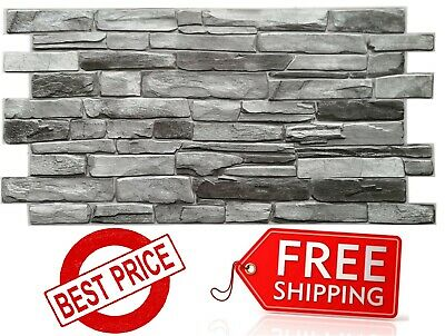 PVC Plastic Wall Panels 3D Decorative Tiles Cladding - GREY STONE