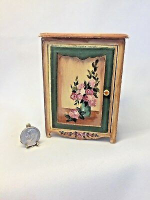 Dollhouse Miniature Artist Signed Hand Painted Three Shelf Cabinet W/Door 1:12