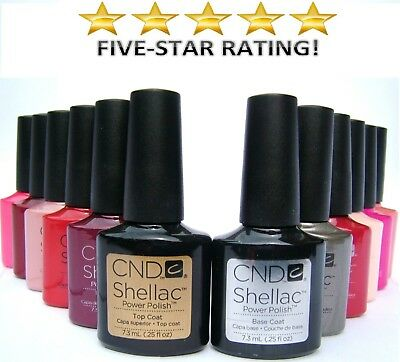 CND Shellac Nail Polish, choose any UV Colour, Base or Top Coat