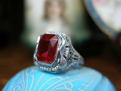 Antique 14K White Gold Filigree Emerald Cut Ruby Seed Pearl Ring Art Deco Rare