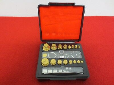 Troemner Apothecary Brass Pharmacy Calibration Scale Weight Set Oz & Grams